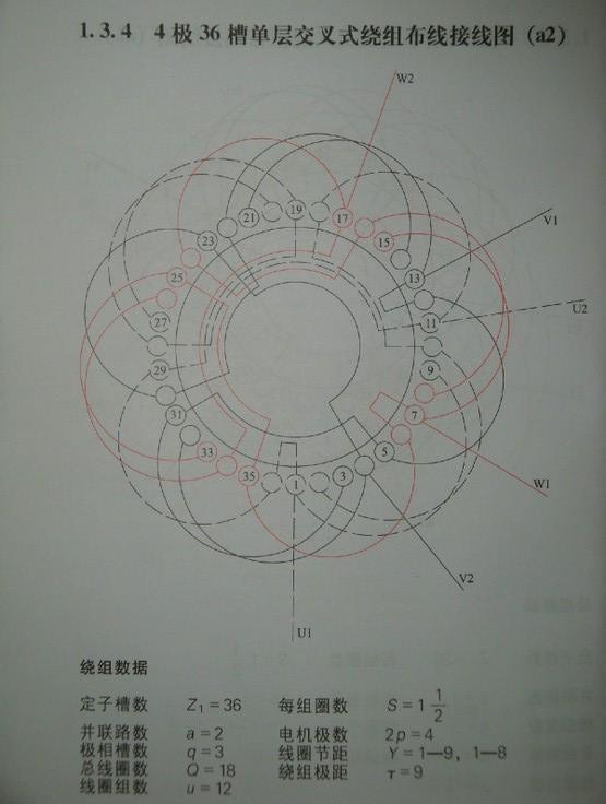 4极36槽单层交叉式绕组的接线问题!