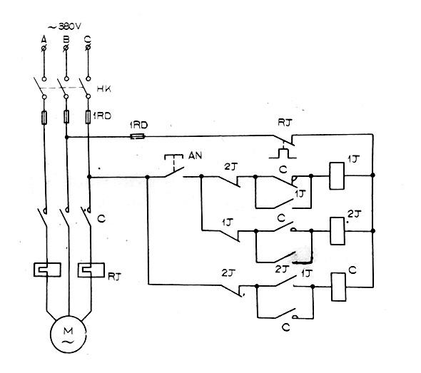 一个按钮控制电机启停原理图