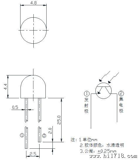 光敏三极管与光敏二极管不同的是有两个背对相接的pn结.
