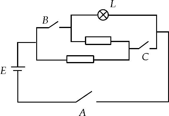 观察如图所示的电路,用逻辑变量a,b,c表示l,并列出真值表.
