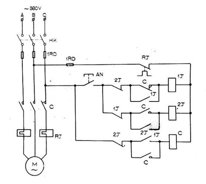 单钮控制电机启停电路图