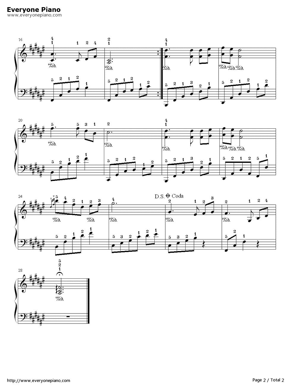钢琴曲《初雪》的带指法的钢琴谱