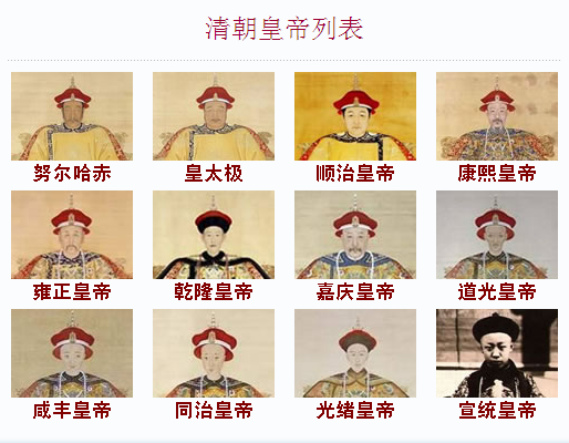 清朝历代皇帝照片图片
