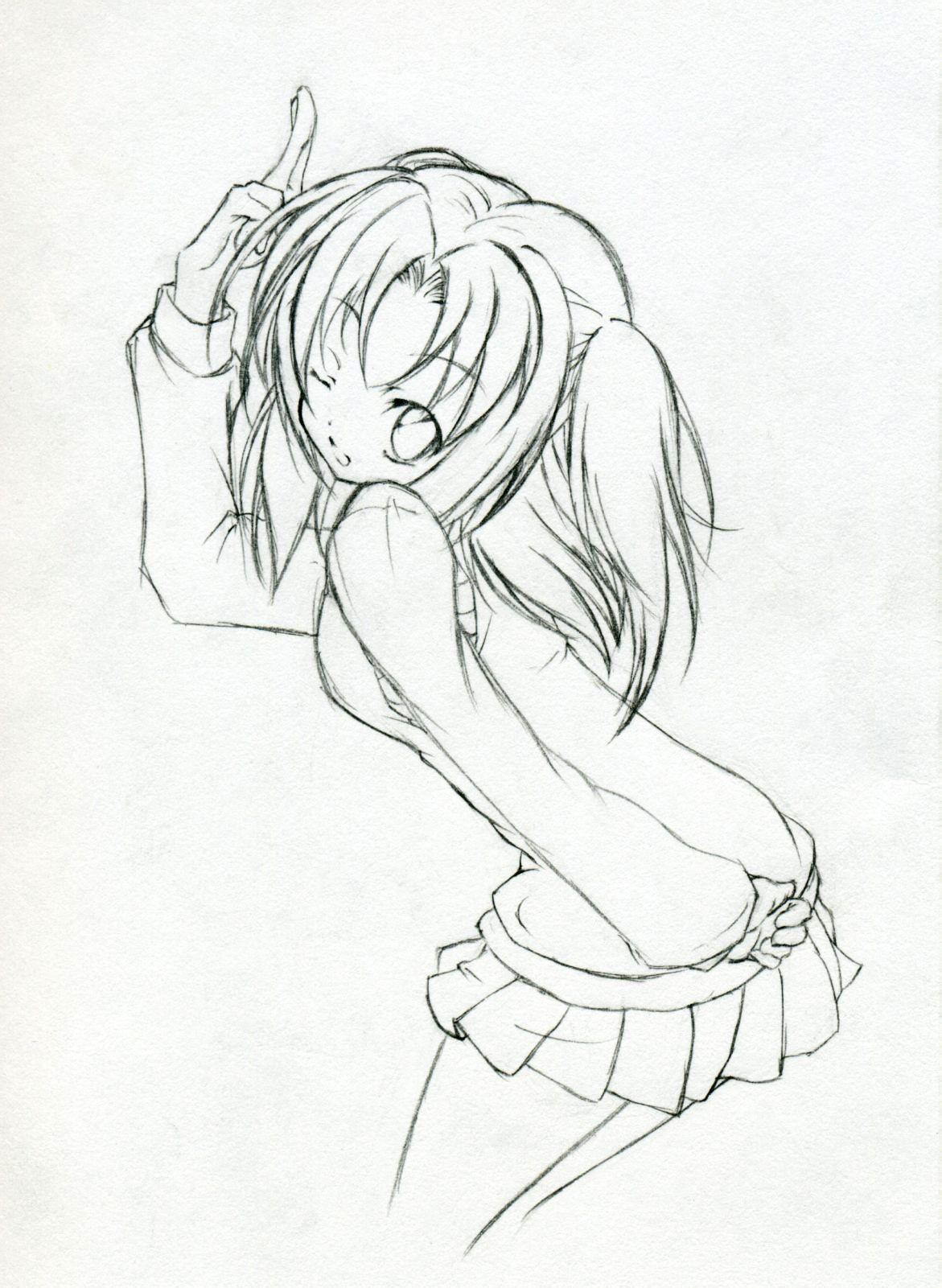 求动漫少女线稿,穿着校服的