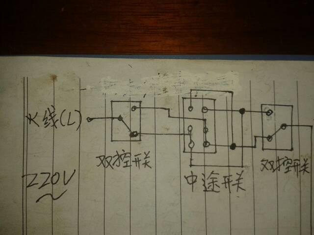 图中一灯三控电路图的黑色实心圆点代表什么意思?