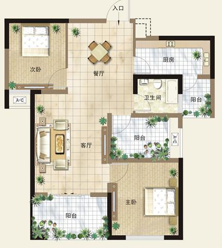 90平方的房子,长12米宽7米,要三房一厅,里面怎样设计好看,求图纸图片