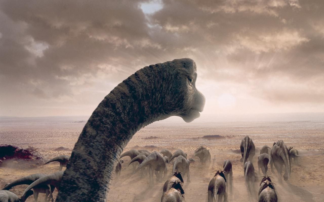 美国出版的3d电影 :恐龙: 影片中.恐龙大迁徙的 背