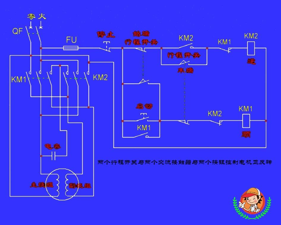 两个行程开关与两个交流接触器怎么控制电机正反转实物接线图和两个控