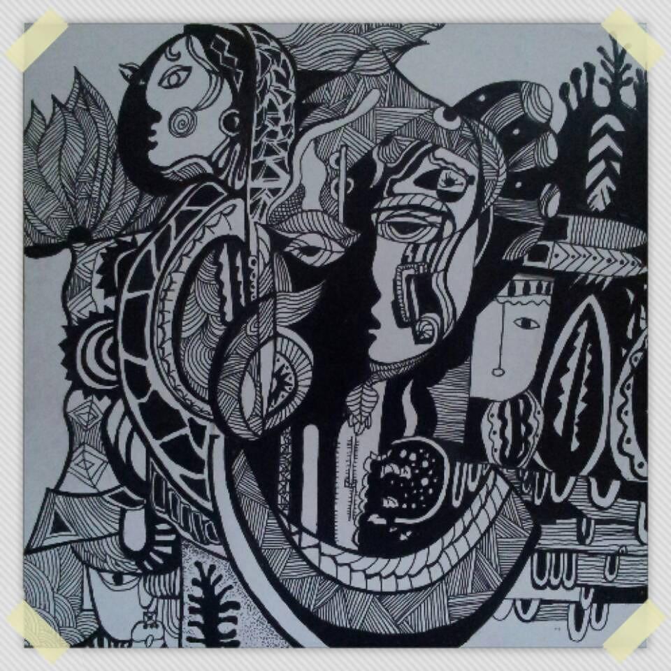 绘制黑白装饰画时可将主体物进行夸张变形,然后配以抽象化的背景,装饰