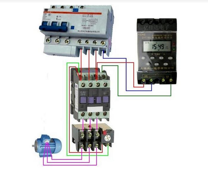 接线方法: 1,热继电器fr串联在接触器的线圈回路中,即时控开关输入接
