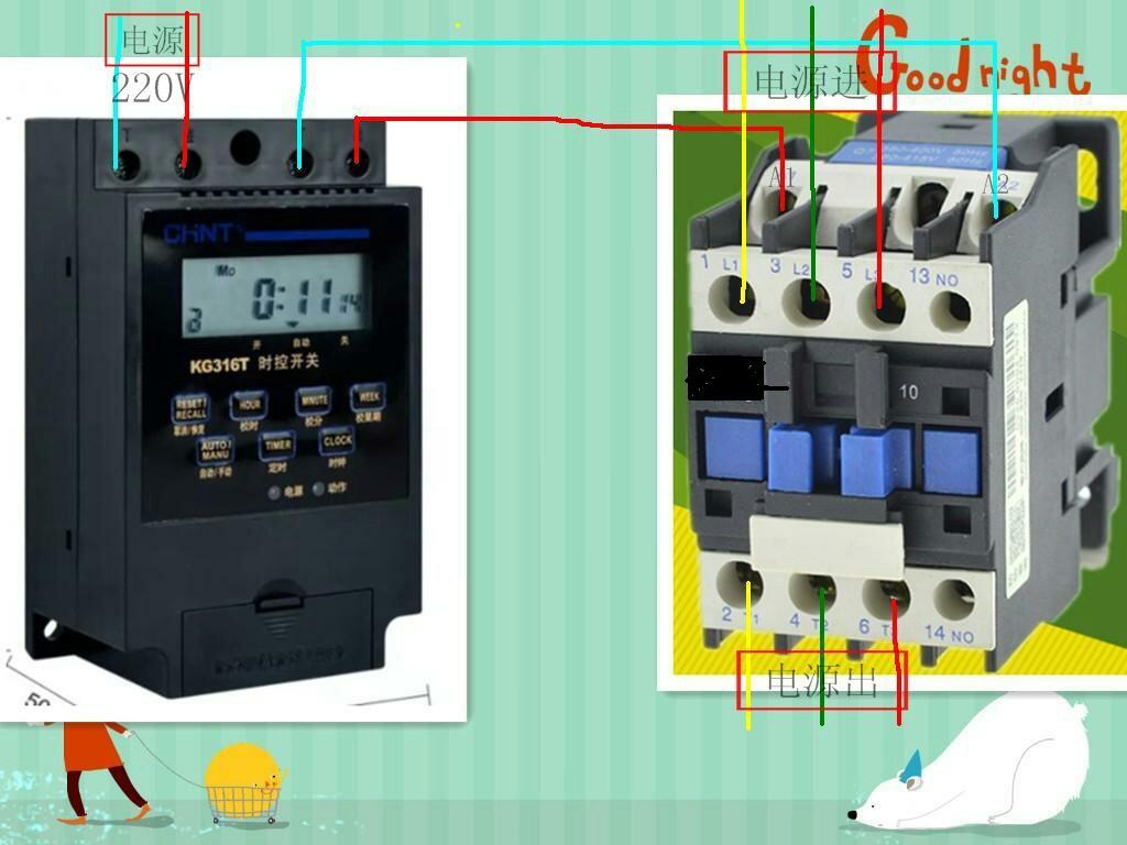 给一个kg316t时控开关与cjx2s3210接触器负载设备是220w连接图