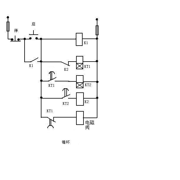 麻烦老师给一个控制两个气缸循环动作的电路图,谢谢