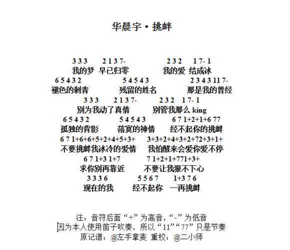 华晨宇挑衅简谱图片