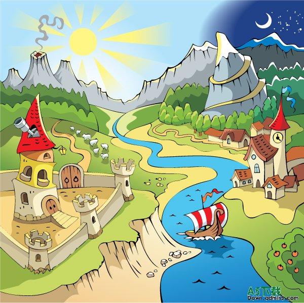 美丽的风景学生画图