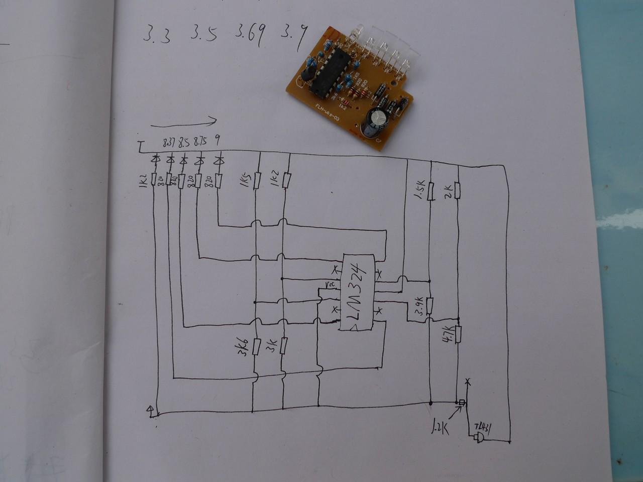 求4v蓄电池电量指示电路?