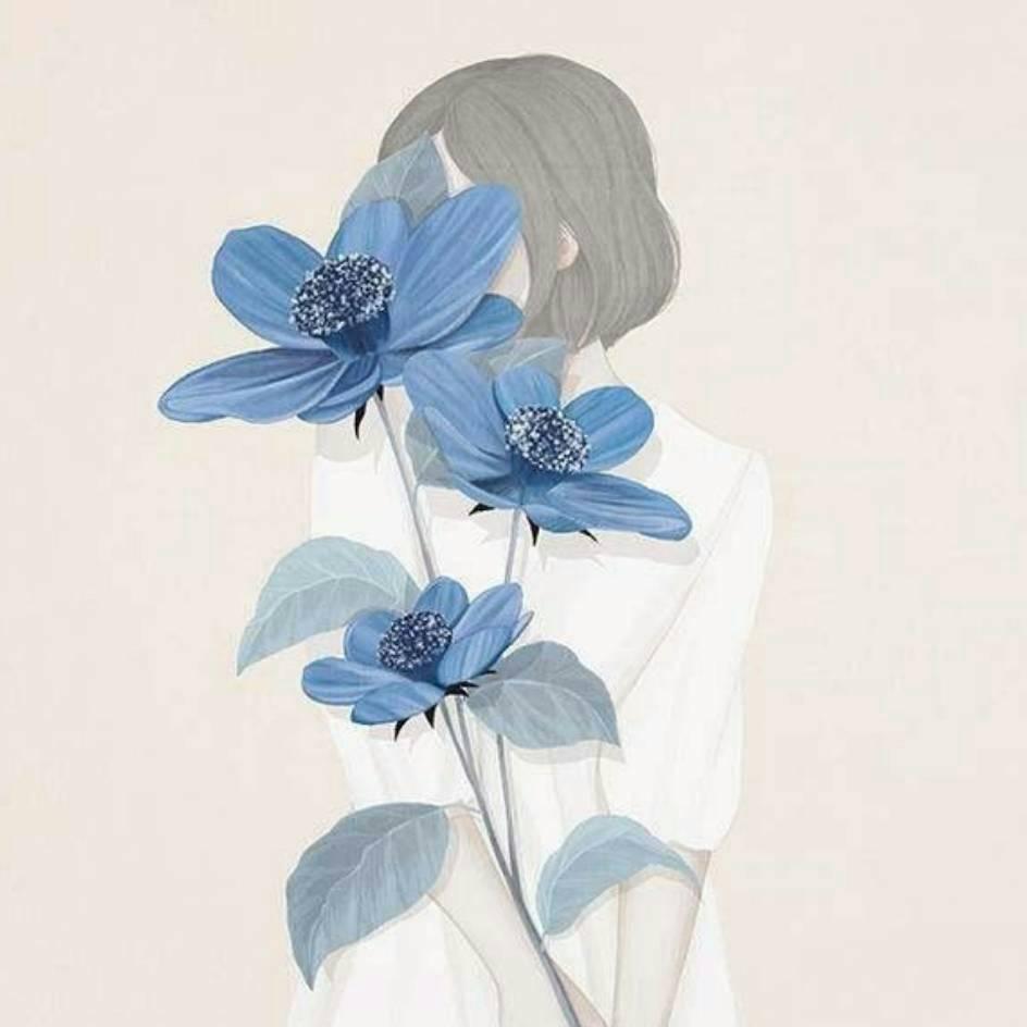 情侣头像一个女生用花遮住脸
