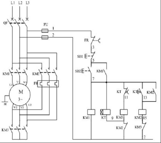 这幅星三角降压启动主电路错了吗,电机进线是uvw,出来