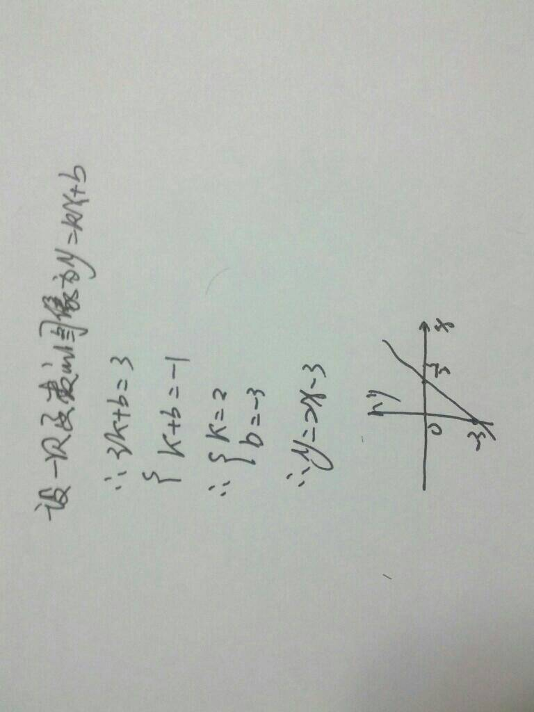 一次函数的图像经过点(3,3)和(1,-1).求这个函数的表达式,并画出图像