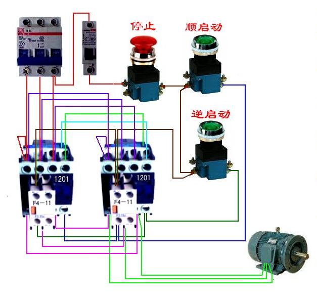 三,cj1201交流接触器来控制电机的正反转控制线路接线实物图如下