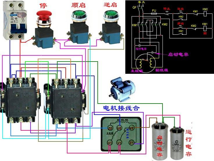 接触器控制单相电机正反转接线图及原理图