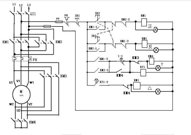 电机四个接触器正反转双联锁的带星三角降压启动实物接线图