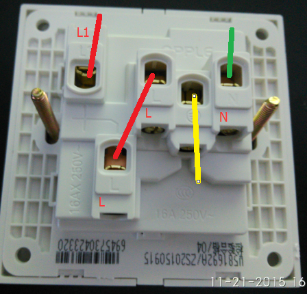 欧普单开五孔开关插座面板,单开三孔开关插座面板分别如何接线