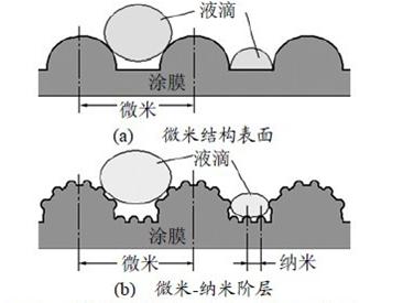 具有一个微米-纳米阶层的结构,使得小液滴无法润湿表面,而是呈现一种