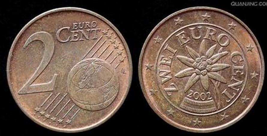 从提问者的描述来看,应该是奥地利发行的二分欧元硬币.图片