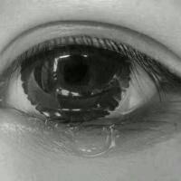 一张头像 是黑白的一只眼睛在流泪