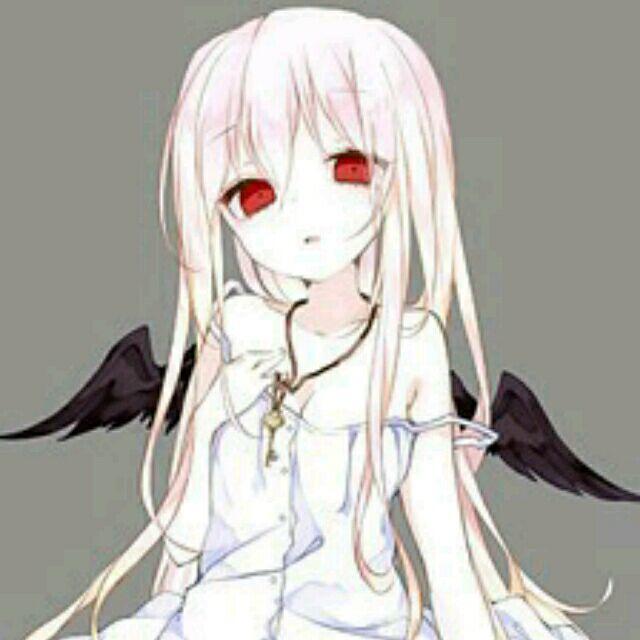 红眼睛白头发黑色翅膀的动漫女孩,如图