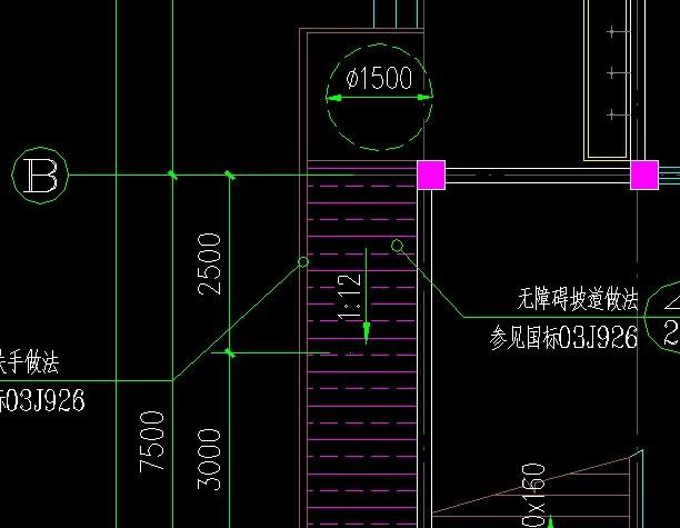 解决CAD残卫表示里直径1500的圆圈请问cad卡标注如何很图片