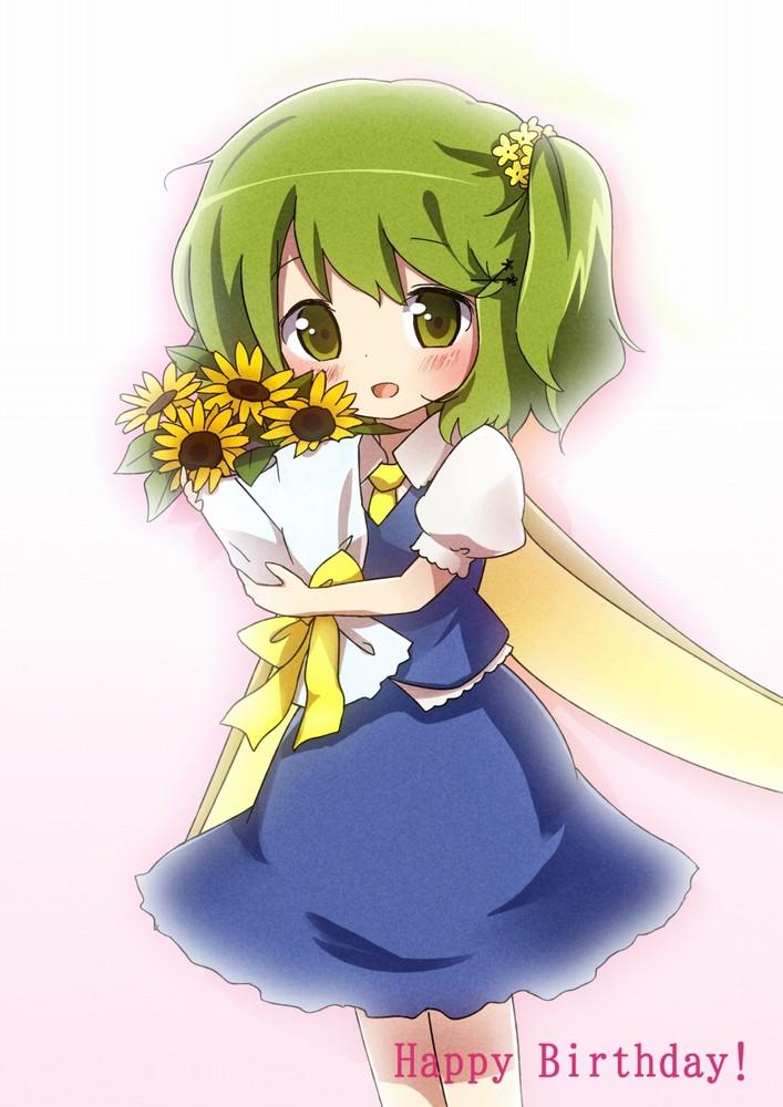 求一绿发捧花动漫少女图