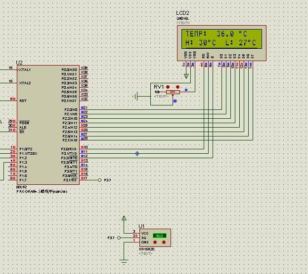 lcd1602液晶显示的高精度报警温度计,求程序,求proteus仿真图