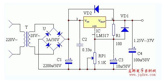 用三端稳压三极管lm317t 8.4v降5v电压电路图,手里没有7805