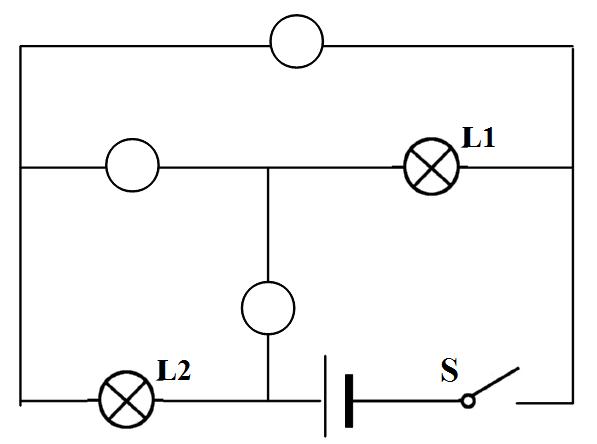 在如图所示电路的圈里填上合适的电表符号,要求:使灯l1,l2并联.