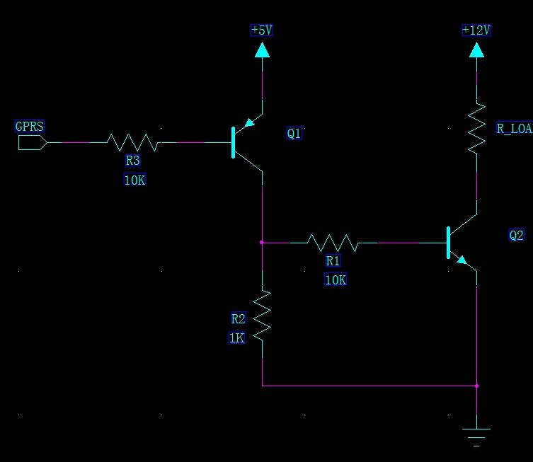 pnp三极管做开关电路,控制端为低时负载工作,控制端为