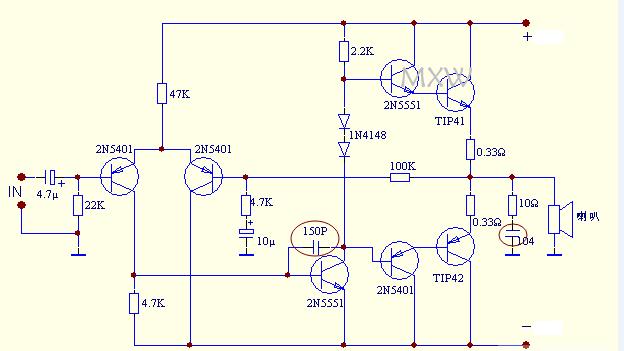 10欧电阻与104电容是高频阻尼吸收,也是消除电路自激振荡.