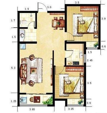 100平方米三房屋设计图