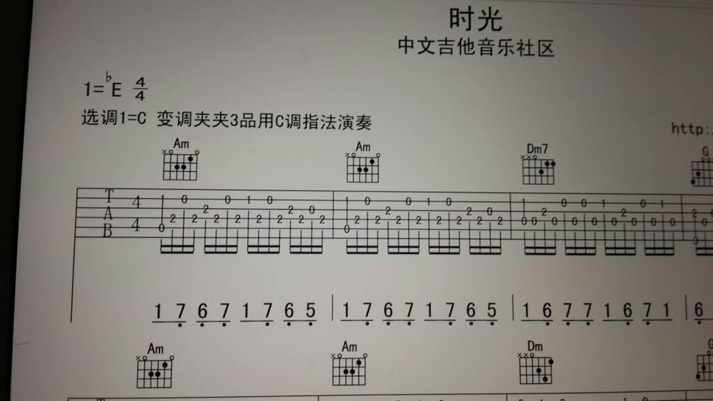 我是吉他初学者.这谱子右手怎么弹啊?左手am和弦,右手怎么整啊?