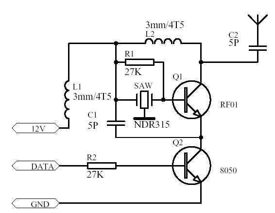 这个电路是一个经典的315mhz无线发射模块电路.