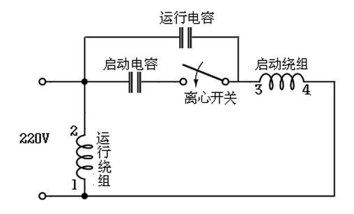 220v電機是啟動電容和運轉電容 怎么接線