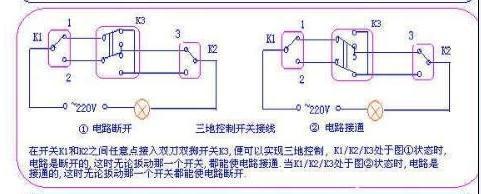 一灯三控接线图