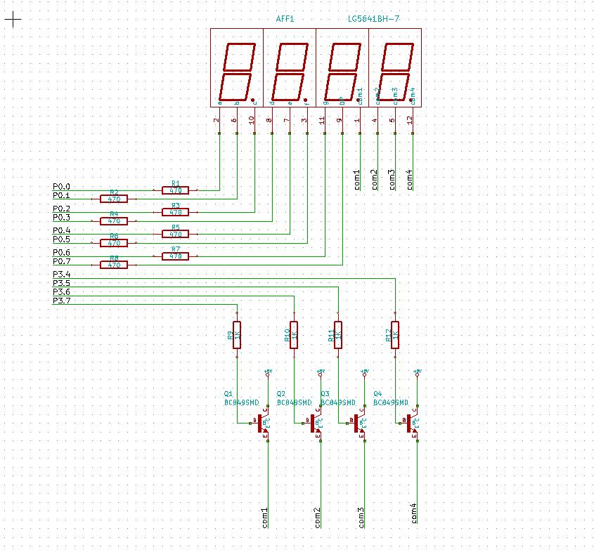三极管驱动共阴极数码管 三极管的c极加上拉电阻阻值多少?