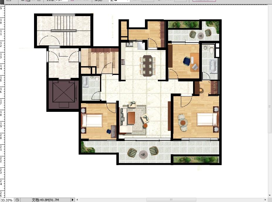 请各位ps高手帮忙给平面设计图铺上地板和填充家具.最终效果如图显示.