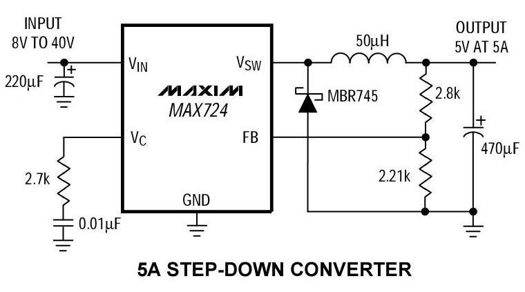 用开关电源,线性稳压器7805用在这里效率太低,自身要消耗35w的功耗