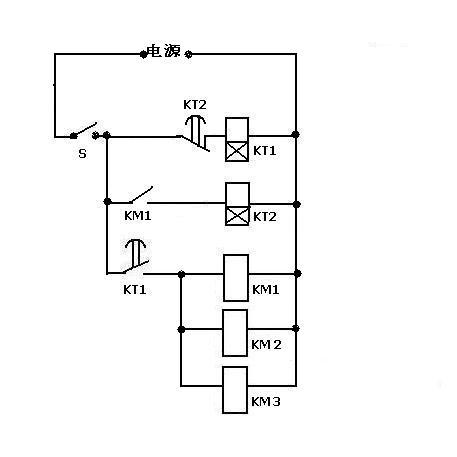 2个时间继电器和4个中间继电器控制3个并联的电磁开关的电路图