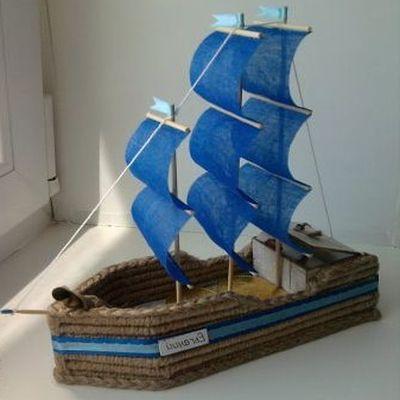 棉线,胶花,竹签或牙签,以及其它在手工制作后你自己点缀装饰帆船模型