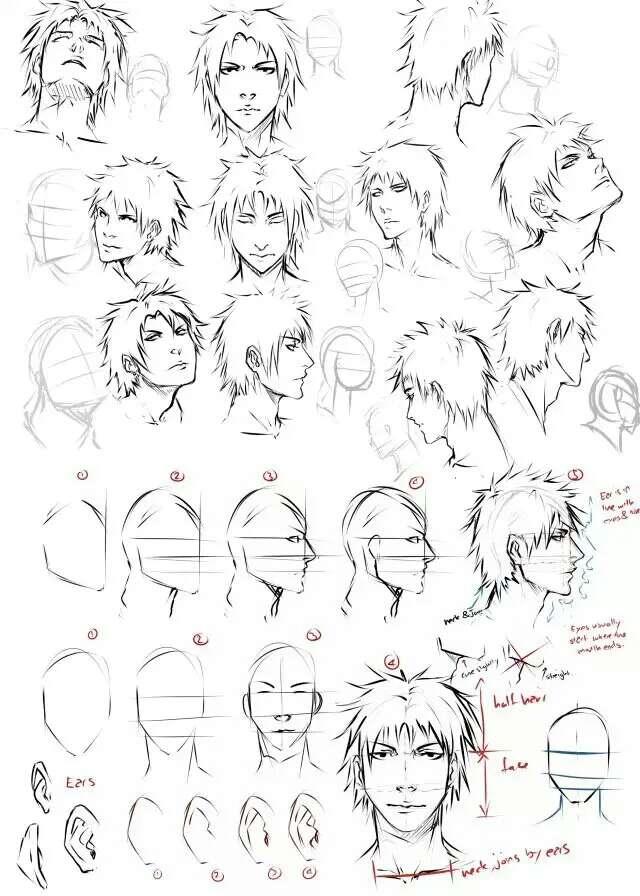 求漫画人物素材,脸型,眼睛,发型都可以