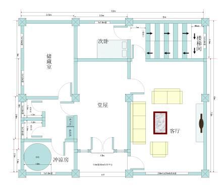 农村自建房10m宽×12m长的三房两厅一卫平面图求大神帮帮忙图片