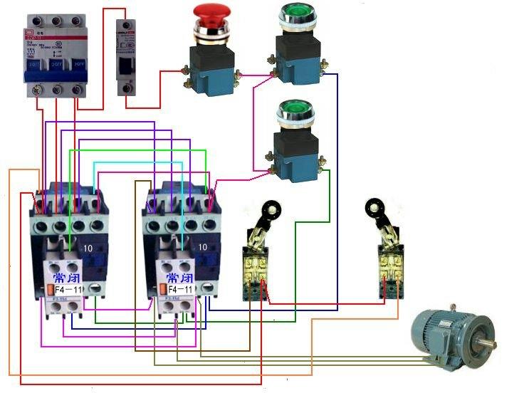 用两个接触器,两个按钮点动控制一台电动机的正反转,如何接线,正反转
